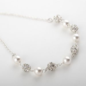 Andrea Pearl And Diamante Wedding Necklace - jewellery