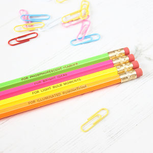 Set Of Neon Pencils For Bright Ideas