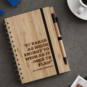 Personalised Quote Wooden Notebook Set For Him - notebooks & journals
