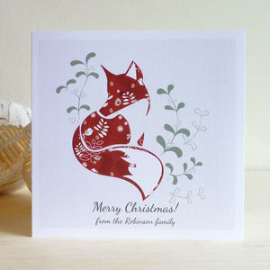 A Set Of Personalised Christmas Cards: Christmas Fox