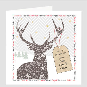 A Personalised Snowy Reindeer Card - cards