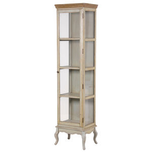 Vintage Look Tall Glass Cabinet - furniture