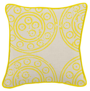 Mayenne Yellow Harris Tweed Cushion - patterned cushions