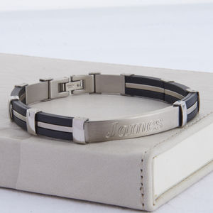 Men's Personalised Rubber And Steel ID Bracelet - bracelets