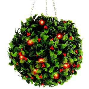 Artificial Topiary Christmas Holly Ball With LED Lights - room decorations