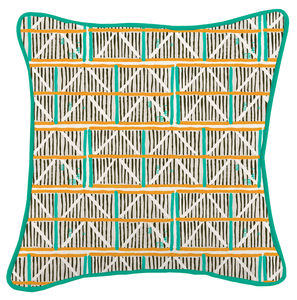 Colombage Turquoise, Orange And Black Cushion