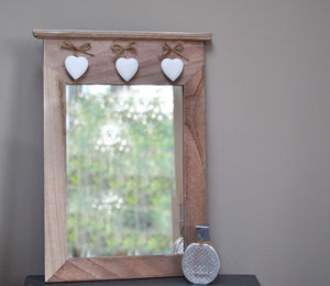 Wooden Mirror With Three Hanging Hearts - gifts for the home