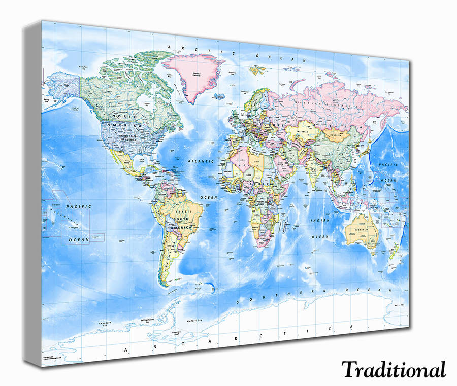 World Map Canvas Print By Love Maps On