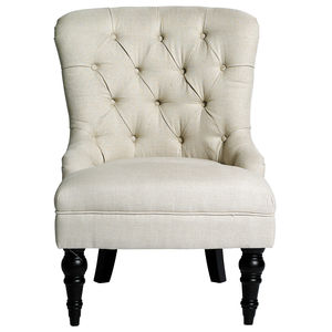 Button Back Chair In Beige - armchairs