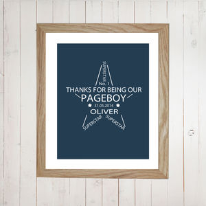 Personalised Pageboy Print - wedding thank you gifts