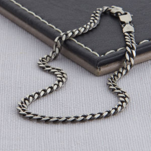 Sterling Silver Men's Curb Chain Bracelet - more