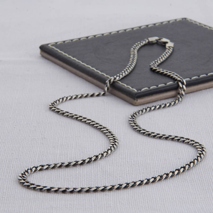 sterling necklace chain in silver curb