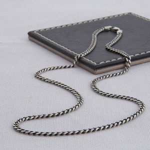 Sterling Silver Men's Curb Chain Necklace