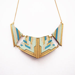 Leather And Suede Statement Necklace