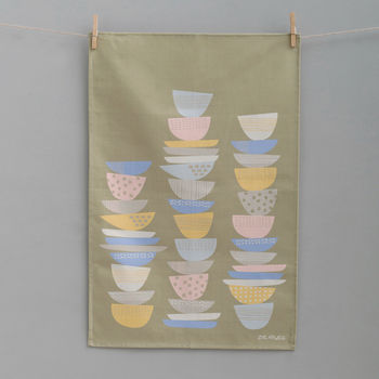 Dish Stacks Tea Towel Olive Green