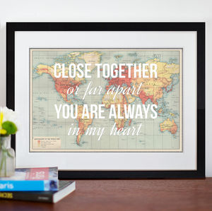 Personalised Long Distance Map Print - home accessories