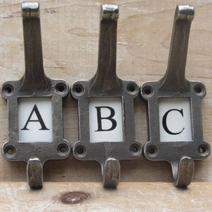 Cast Antique Iron Alphabet Hooks - hooks, pegs & clips