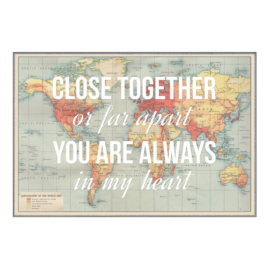 Personalised Long Distance Map Print By Of Life Lemons
