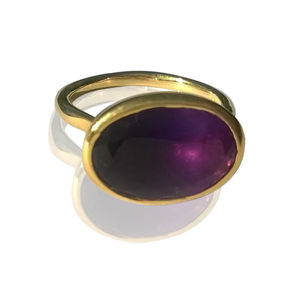 Amethyst Ring   Gold Oval - rings