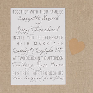 Typography Wedding Stationery Suite - thank you cards