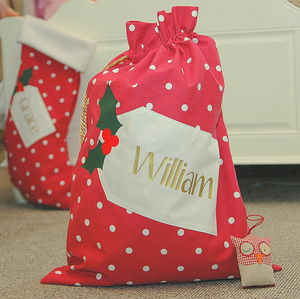 Personalised Spotty Christmas Santa Sack - stockings & sacks