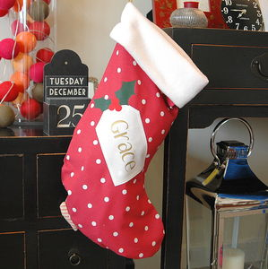 Personalised Spotty Christmas Stocking - christmas decorations