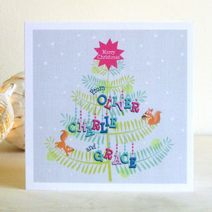 A Set Of Personalised Christmas Tree Cards
