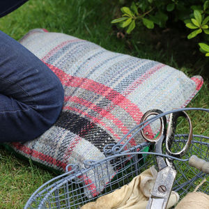 Checked Wool Garden Kneeler - potting shed essentials