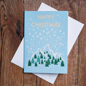 Snowy Mountains Christmas Card - cards