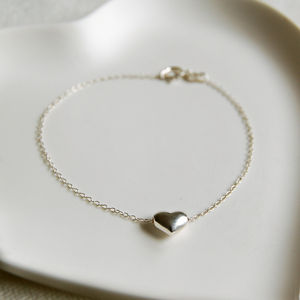 Delicate Silver Heart Charm Bracelet - wedding jewellery