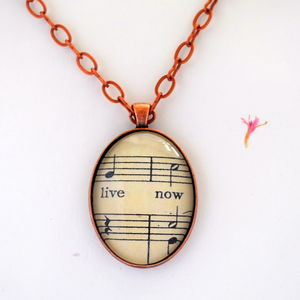 Live Now Inspirational Pendant Vintage Copper - women's jewellery