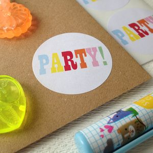 Round Party Stickers - ribbon & wrap