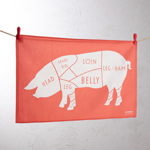 Butchers Pig Meat Cuts Tea Towel - view all sale items