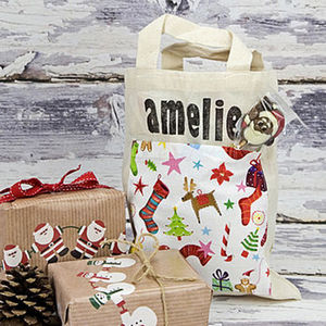 Personalised Christmas Mini Cotton Bags - winter sale