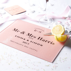 Personalised Couple's Frosted Glass Cutting Board - chopping boards
