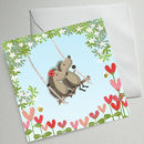 Set Of Six Hedgehugs Illustrated Cards (Tree Swing)