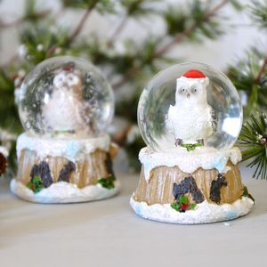 Owl Wearing A Hat Mini Christmas Snow Globe