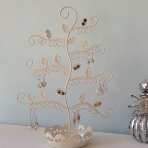 Earring Stand And Trinket Bowl Cream Or Blue Flower - jewellery storage & trinket boxes