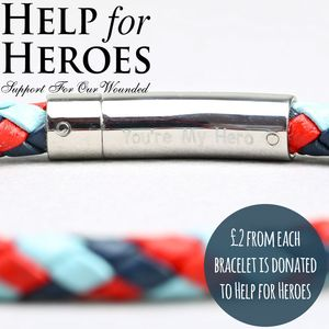 Engraved Men's 'Help For Heroes' Leather Bracelet - men's jewellery