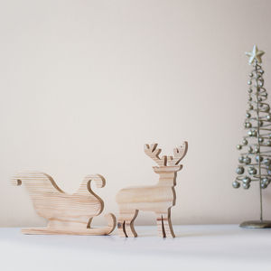 Wooden Reindeer And Sleigh Ornament