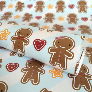 Five Sheets Of Gingerbread Man Wrapping Paper - cards & wrap