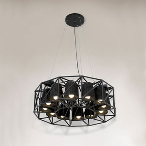 Ring Shaped Hanging Lamp Array - living room
