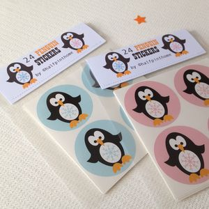 Christmas Penguin Stickers - finishing touches