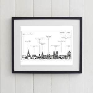 Paris Skyline Print Black And White