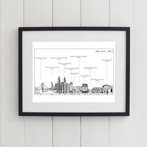 New York Skyline Print Black And White