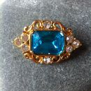 Vintage Gold, Diamante And Turquoise Glass Stone Brooch