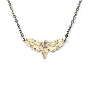 NATURE GIRL Illustrated Moth Necklace - necklaces & pendants