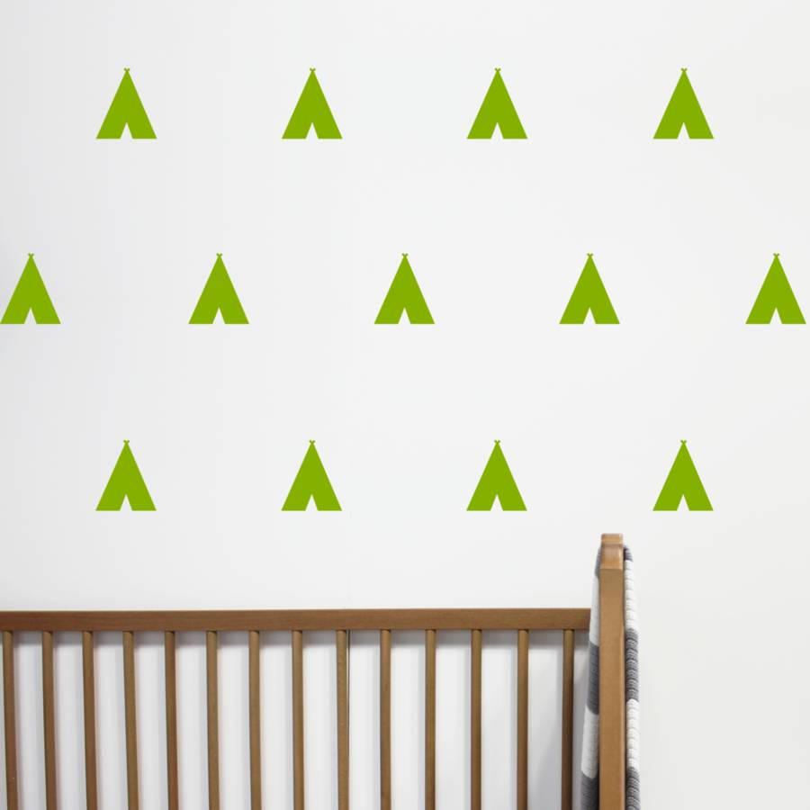 Mini teepee tent wall stickers by little chip notonthehighstreet leaf green amipublicfo Gallery
