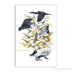 'Seagfried And Friends' Seabird Screen Print