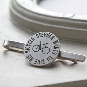 Personalised Bike Tie Clip - tie pins & clips